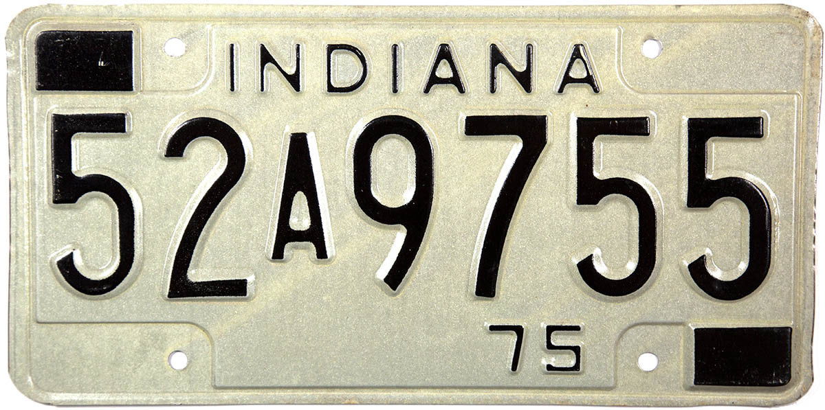 1975 Indiana License Plate