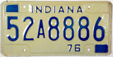 1976 Indiana License Plate in excellent minus condition
