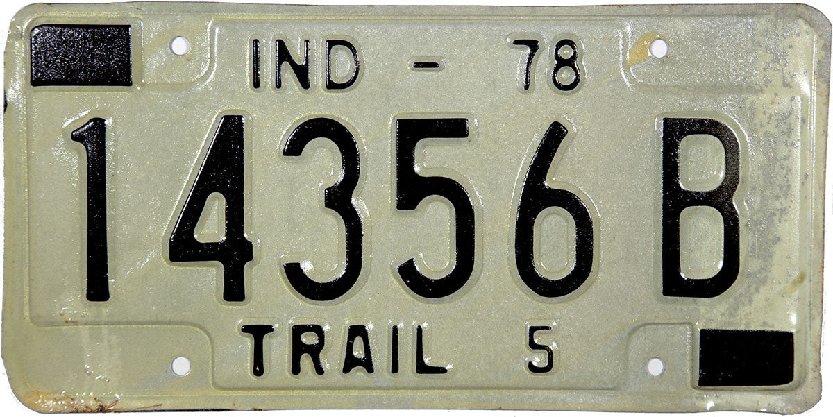 1978 Indiana Trailer License Plate