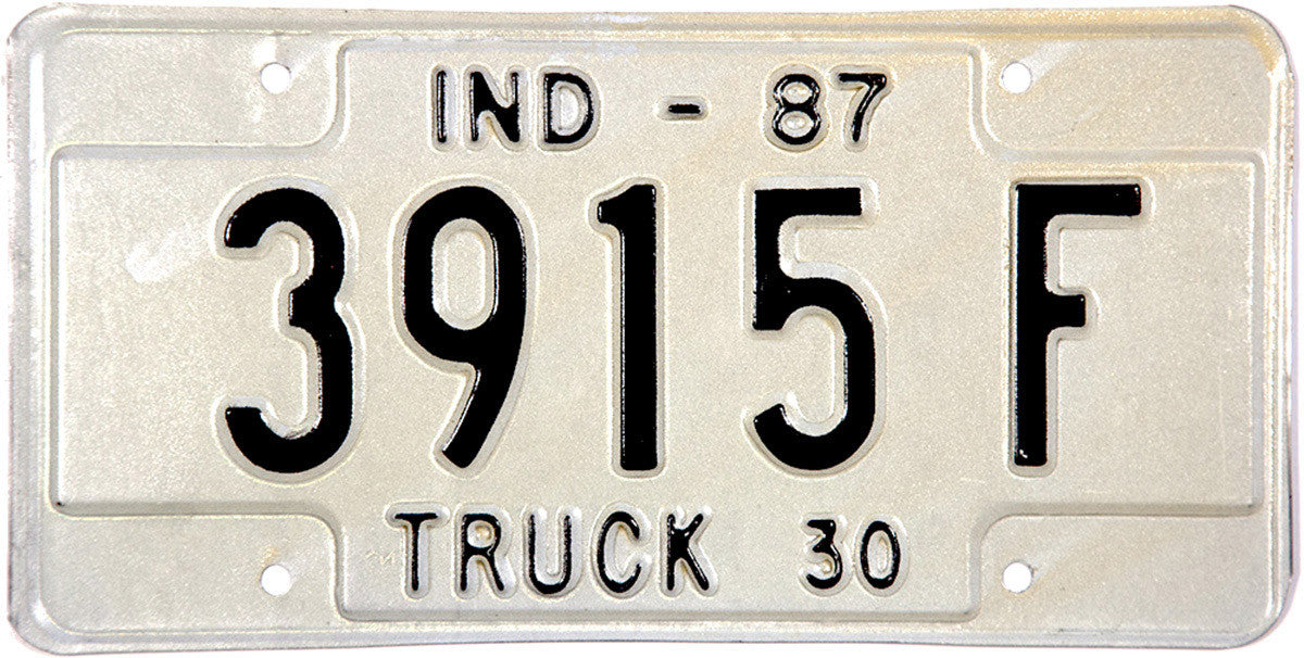 1987 Indiana Truck License Plate