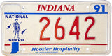 1991 Indiana National Guard License Plate