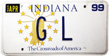 1999 Indiana DMV GL License Plate