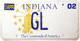 2002 Indiana DMV GL License Plate