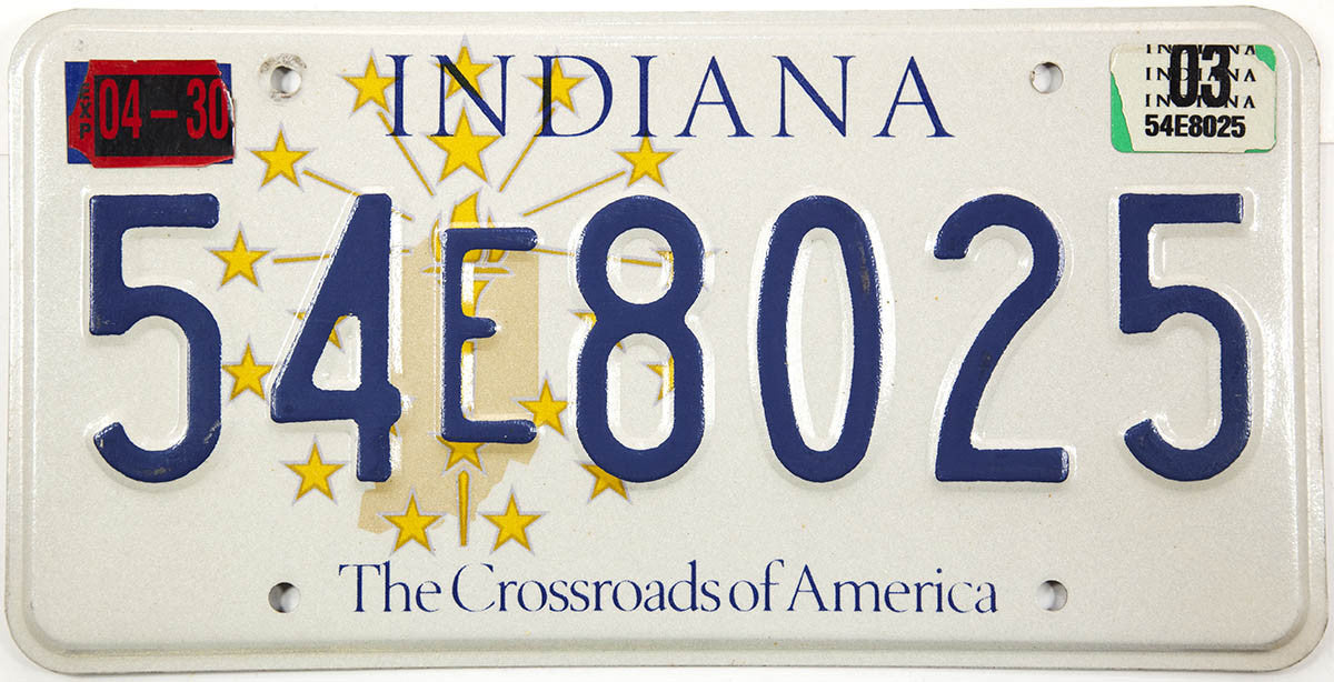 2003 Indiana License Plate