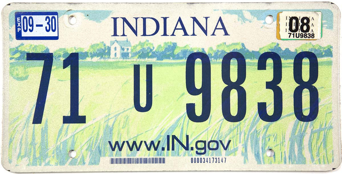 2008 Indiana License Plate