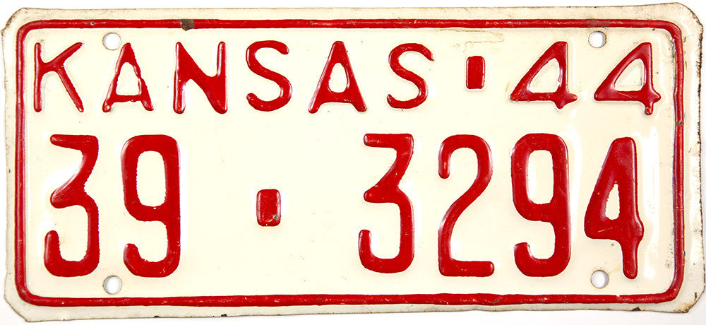1944 Kansas License Plate in New Old Stock excellent minus condition