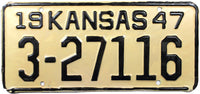 1947 Kansas License Plate in NOS excellent minus condition with original wrapper