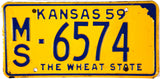 1959 Kansas License Plate Excellent Minus