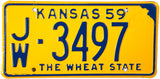 1959 Kansas License Plate Excellent Plus