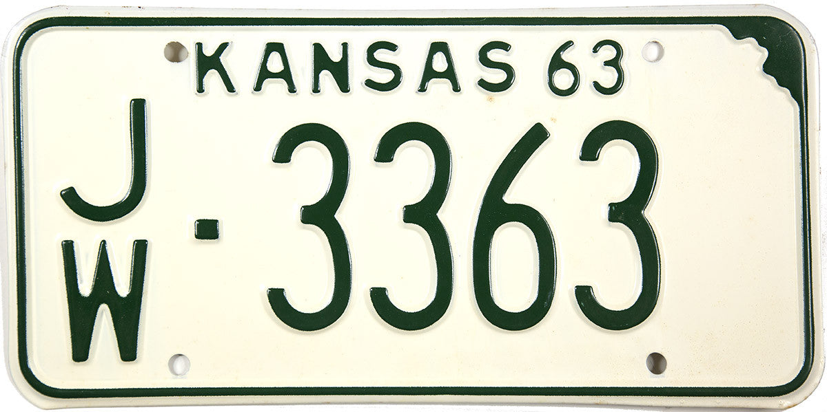 1963 Kansas License Plate in Excellent condition