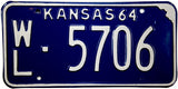 1964 Kansas License Plate in Excellent condition