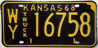 1968 Kansas Truck License Plate in Excellent condition
