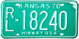 1970 Kansas License Plate in Excellent Minus condition