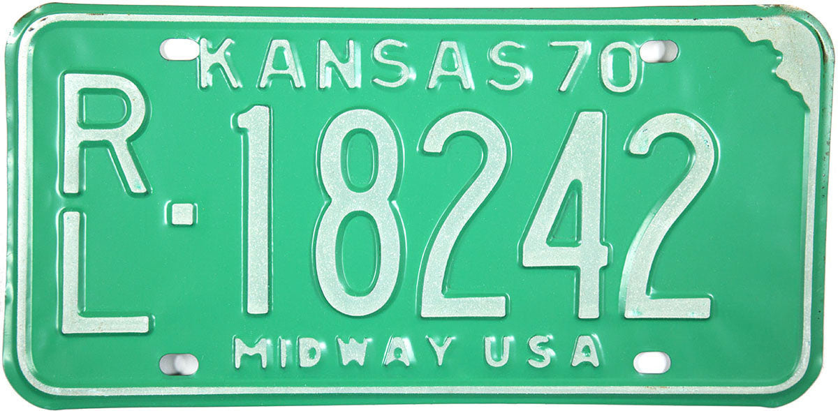 1970 Kansas License Plate in Excellent Plus condition