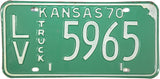 1970 Kansas Truck License Plate in Excellent Minus