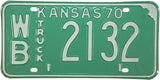 1970 Kansas Truck License Plate in Excellent condition