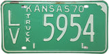 1970 Kansas Truck License Plate in very good plus condition