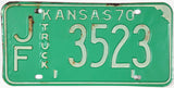 1970 Kansas Truck License Plate in very good condition