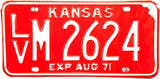 1971 Kansas License Plate in Excellent Minus condition