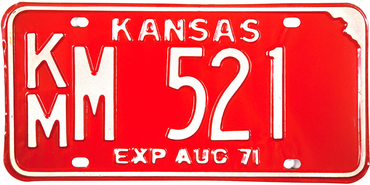 1971 Kansas License Plate in Excellent Plus condition