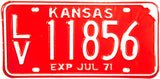 1971 Kansas License Plate in Excellent condition