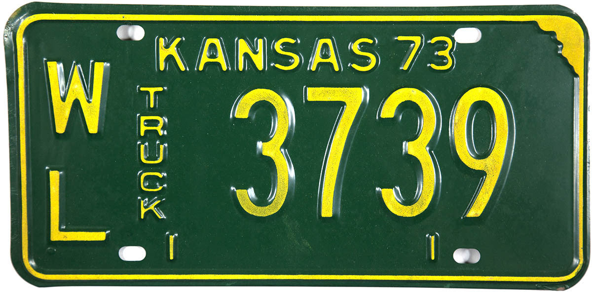 1973 Kansas Truck License Plate in Excellent minus condition