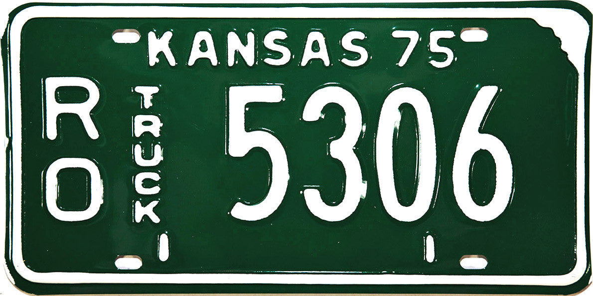 1975 Kansas Truck License Plate in Near Mint condition