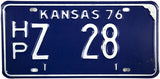 1976 Kansas License Plate in Very Good Plus condition