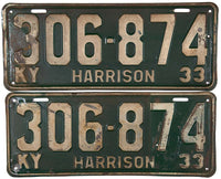 1933 Kentucky License Plates