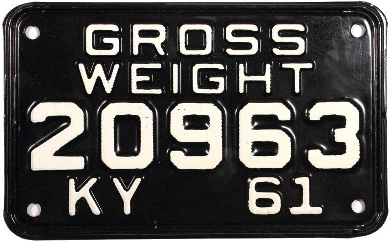 1961 Kentucky Truck Gross Weight License Plate