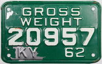 1962 Kentucky Truck Gross Weight License Plate