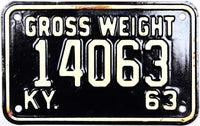 1963 Kentucky Truck Gross Weight License Plate