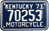 1971 Kentucky Motorcycle License Plate