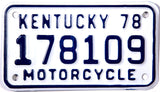 1978 Kentucky Motorcycle License Plate