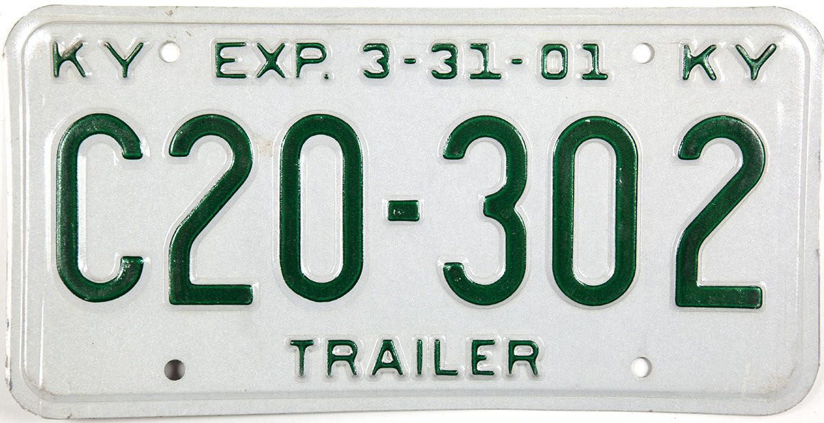 2001 Kentucky Trailer License Plate