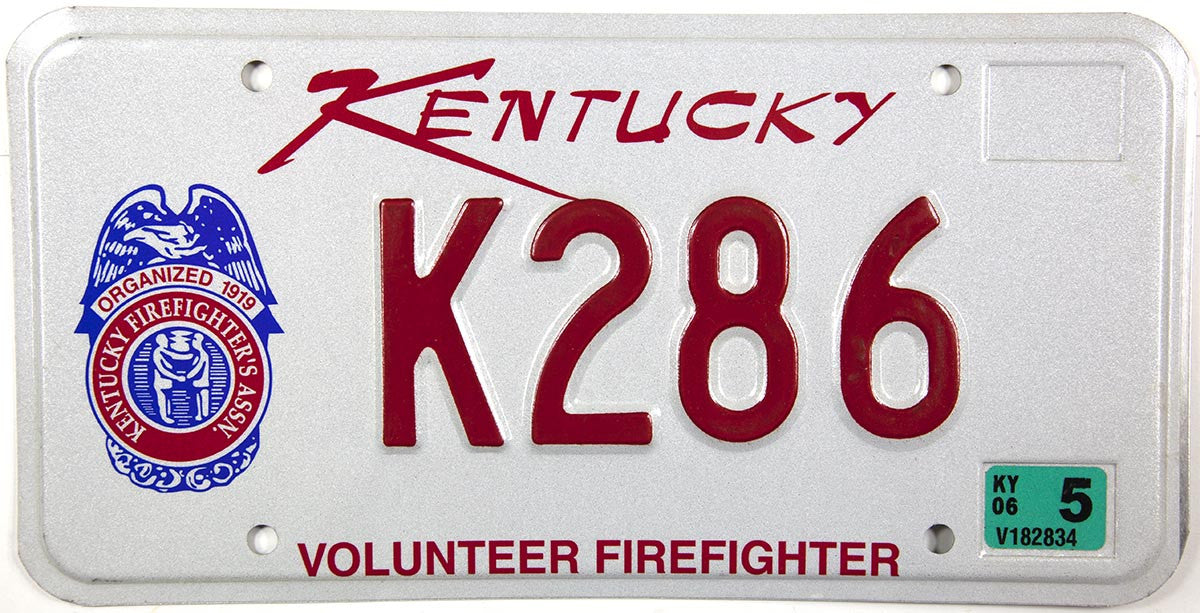 2006 Kentucky Firefighter License Plate