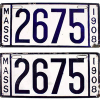 1908 Massachusetts License Plates