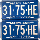 DMV 1960 Maryland Truck License Plates