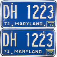 1975 Maryland License Plate