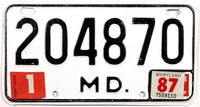 1987 Maryland Motorcycle License Plate