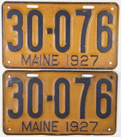 An antique pair of 1927 Maine passenger car license plates