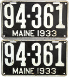1933 Maine License Plate