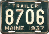 1937 Maine Trailer License Plate
