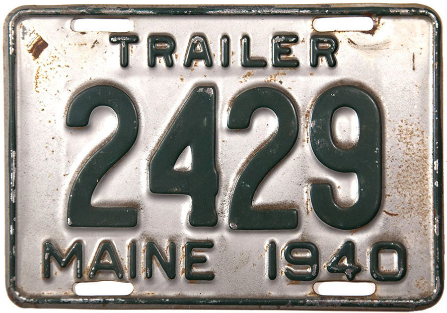 1940 Maine Trailer License Plate