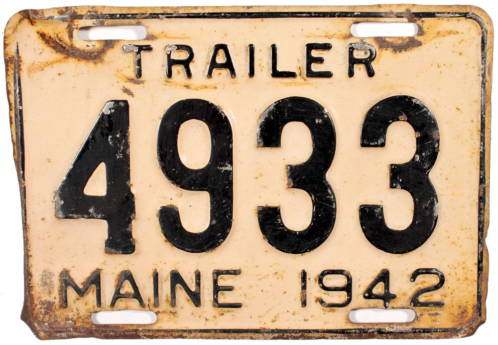 1942 Maine Trailer License Plate
