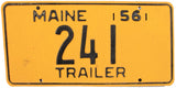 1956 Maine Trailer License Plate