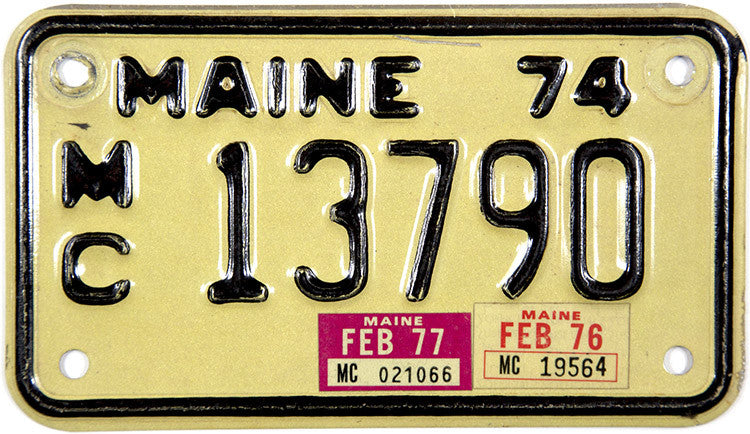 1977 Maine Motorcycle License Plate