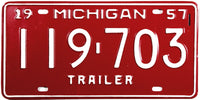 1957 Michigan Trailer License Plate