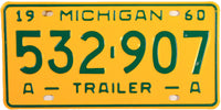 1960 Michigan Trailer License Plate
