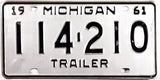 1961 Michigan Trailer License Plate